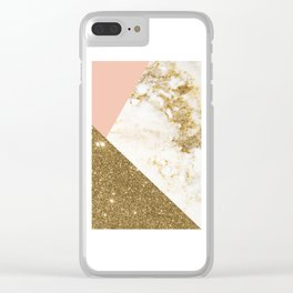 Gold marble collage Clear iPhone Case