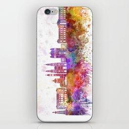 San Salvador skyline in watercolor background iPhone Skin