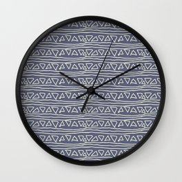 Blue Scribbles Pattern 03 Wall Clock