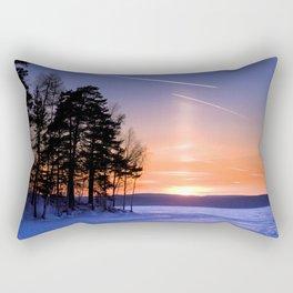 Сolumn of light and contrails Rectangular Pillow