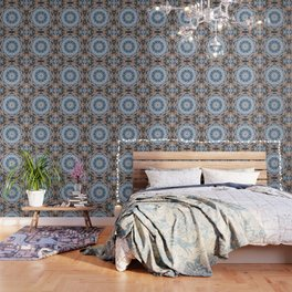 Blue Brown Folklore Texture Mandala Wallpaper