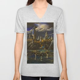 Hogwarts at Starry night Unisex V-Neck