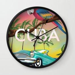 Cuba vintage travel poster print Wall Clock