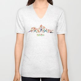 Yoga Girls_Growing With Poses_Robin Pickens Unisex V-Neck