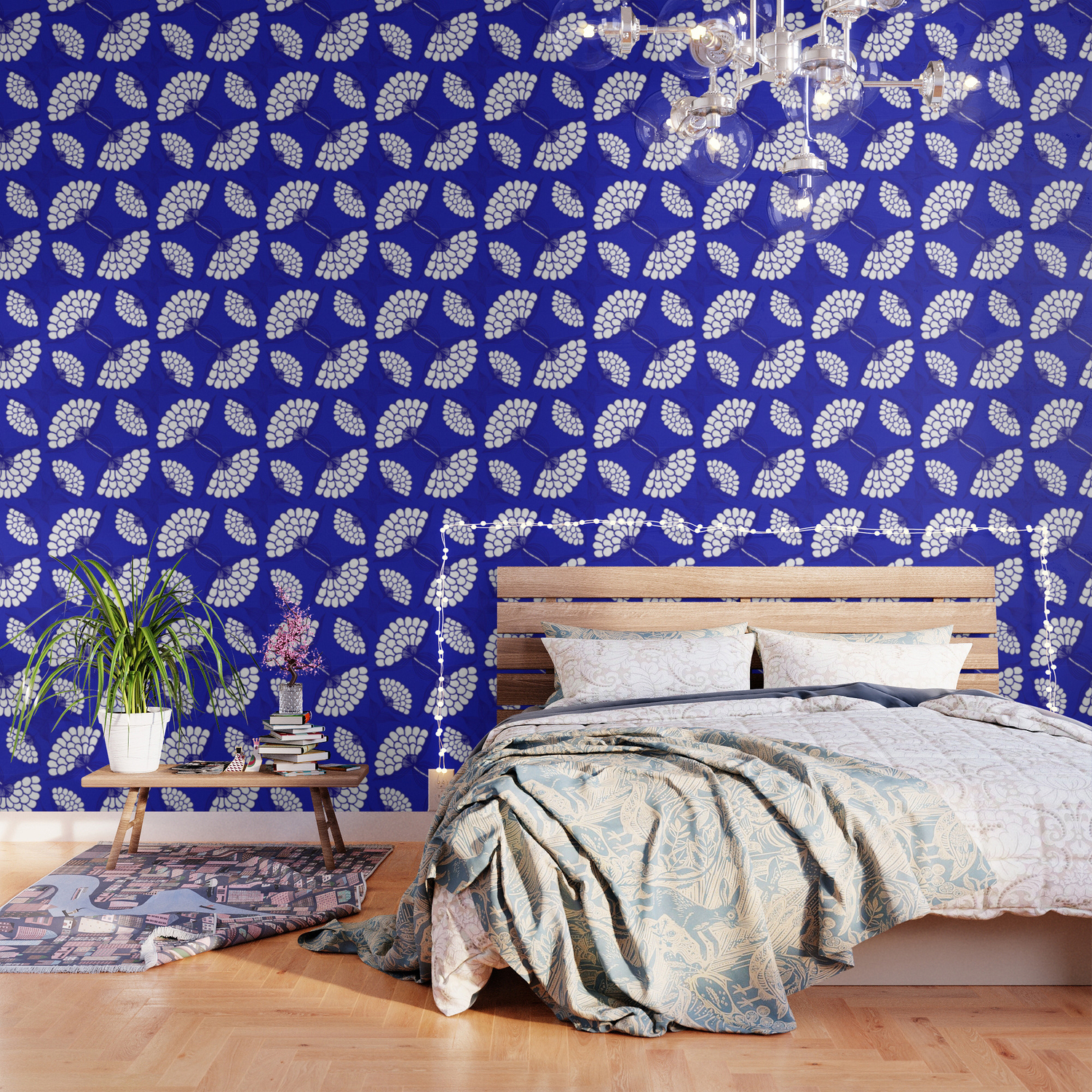 African Floral Motif On Royal Blue Wallpaper By Wellingtonboot