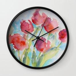 Tulips (watercolor) Wall Clock