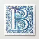 Letter B Antique Floral Letterpress Monogram by littlebunnywordtime