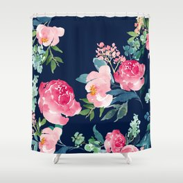Floral shower curtains society6 navy and pink watercolor peony shower curtain mightylinksfo