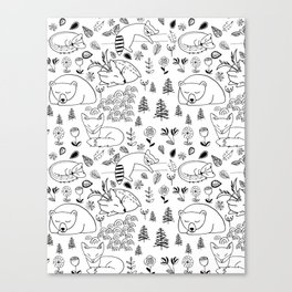 Sleepy Woodland Animals - Black and White Canvas Print