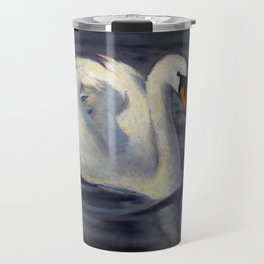 Swan Swimming in Sunshine, Oil Pastel Painting Travel Mug