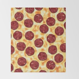 Pepperoni Pizza Pattern Throw Blanket