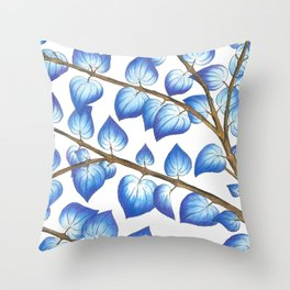 Breezy Blue Leaves Throw Pillow