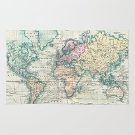 Vintage Map of The World (1801) Rug