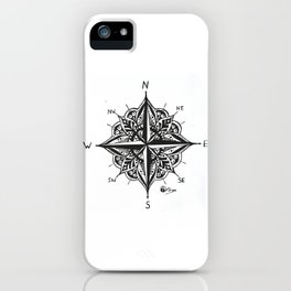"""Mandala Compass Rose"" Hand-Drawn by Dark Mountain Arts iPhone Case"