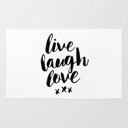 Live Laugh Love black and white wall hangings typography design home wall decor bedroom Rug