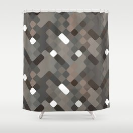 Chic Taupe White Gray Round Squares Pattern Shower Curtain
