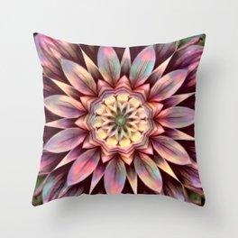 Pastel Dimensional Flower Mandala Throw Pillow