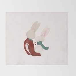 Couple of rabbits in love Throw Blanket