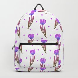 Lavender purple watercolor hand painted tulips polka dots Backpack
