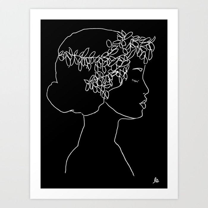 Sophia (Female With Flowers Portrait Series) Art Print