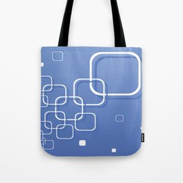 WHITE SQUARES ON A BLUE BACKGROUND Abstract Art Tote Bag