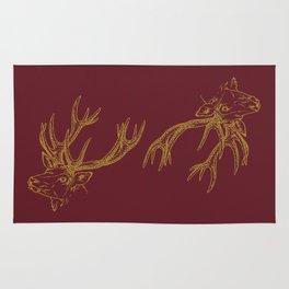 Deer Burgundy Gold Rug