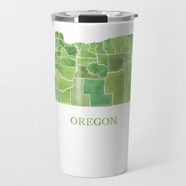 Oregon Counties watercolor map Travel Mug