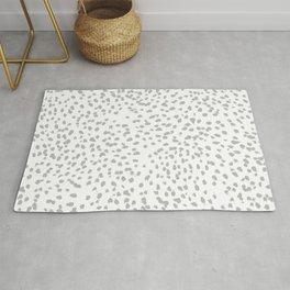 grey spots minimalist decor modern gifts grey and white polka dot brushstroke painting Rug