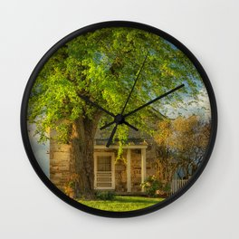 The Stone Cottage On A Spring Evening Wall Clock