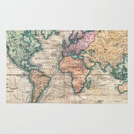 Vintage World Map 1801 Rug