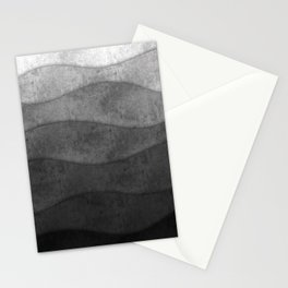 Monochrome waves Abstract modern art Stationery Cards