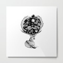Space Deer Metal Print