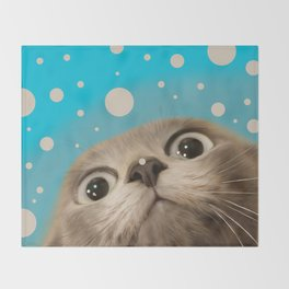 """Fun Kitty and Polka dots"" Throw Blanket"