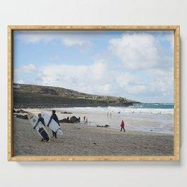 Beautiful British Surf Beach in Cornwall Serving Tray
