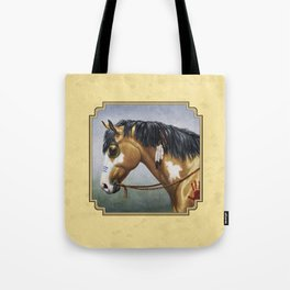 Native American Buckskin Pinto War Horse Tote Bag