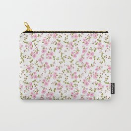 Vintage girly pink bohemian floral illustration Carry-All Pouch