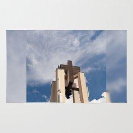 High church turret cross symbol Rug
