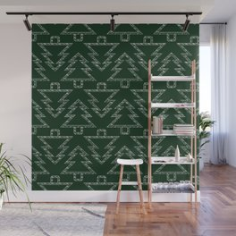 Merry Christmas - Abstract christmas tree pattern on festive green Wall Mural