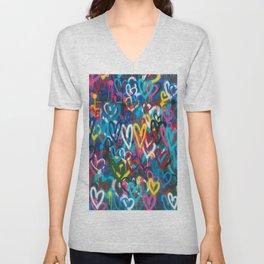 Graffiti Hearts Love (Color) Unisex V-Neck