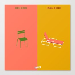 Chaise VS Transat (Paris VS Marseille) Canvas Print