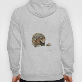 """""""Close Encounter"""" painting of a Hedgehog and Snail by Teresa Thompson Hoody"""
