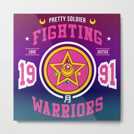 Anime Manga Otaku Magical Girl Pretty Soldier Fighting Warriors Crest Metal Print