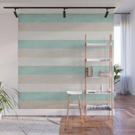 aqua and sand stripes Wall Mural