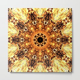 Yellow Brown Mandala Abstract Flower Metal Print