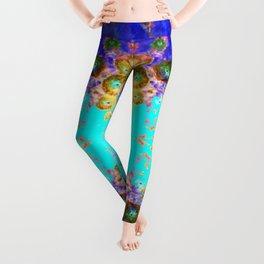 BLUE GARDEN GOLD-PINK  FLOWERS Leggings