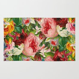 Colorful Floral Pattern   Je t'aime encore Rug