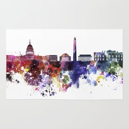 Washington DC skyline in watercolor on white background  Rug