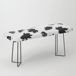 Falling Autumn Leaves in Black and White Bench