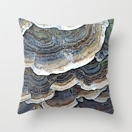 Turkey Tail Fungi Throw Pillow
