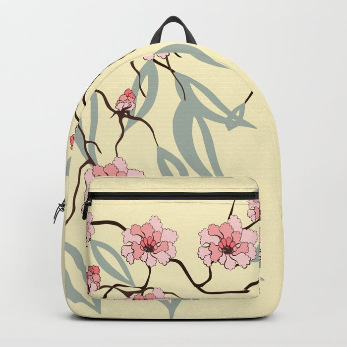 Floral. Dreams of spring. Pink sakura. Backpack